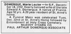 nécrologie Marie Louise Domergue